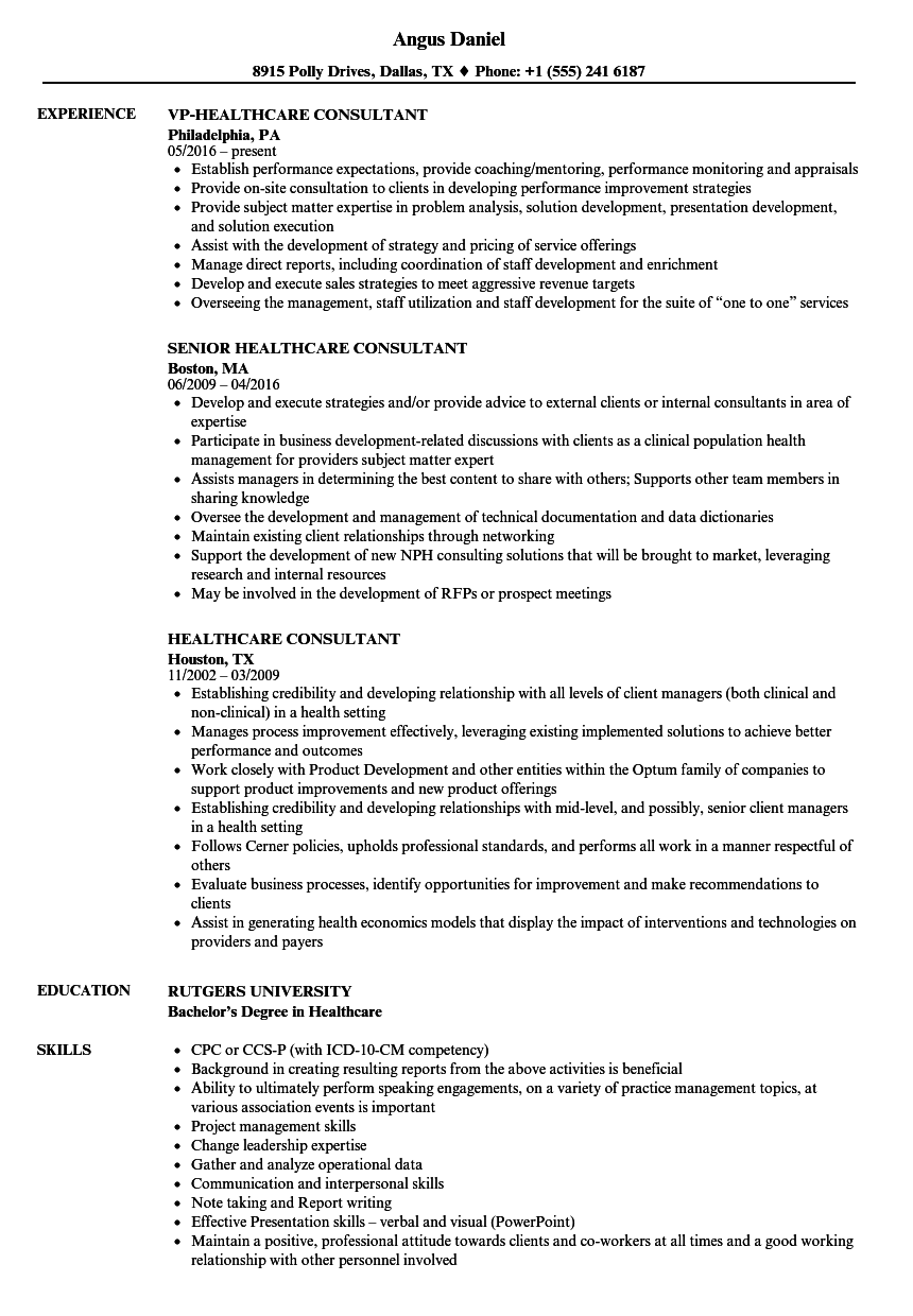 Healthcare Consultant Resume Samples | Velvet Jobs