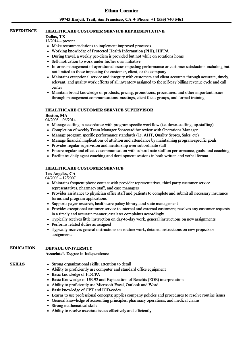 Healthcare Customer Service Resume Samples | Velvet Jobs