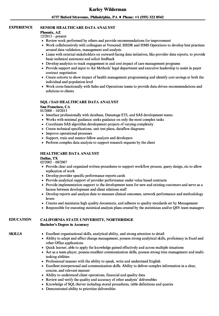 healthcare data analyst resume samples