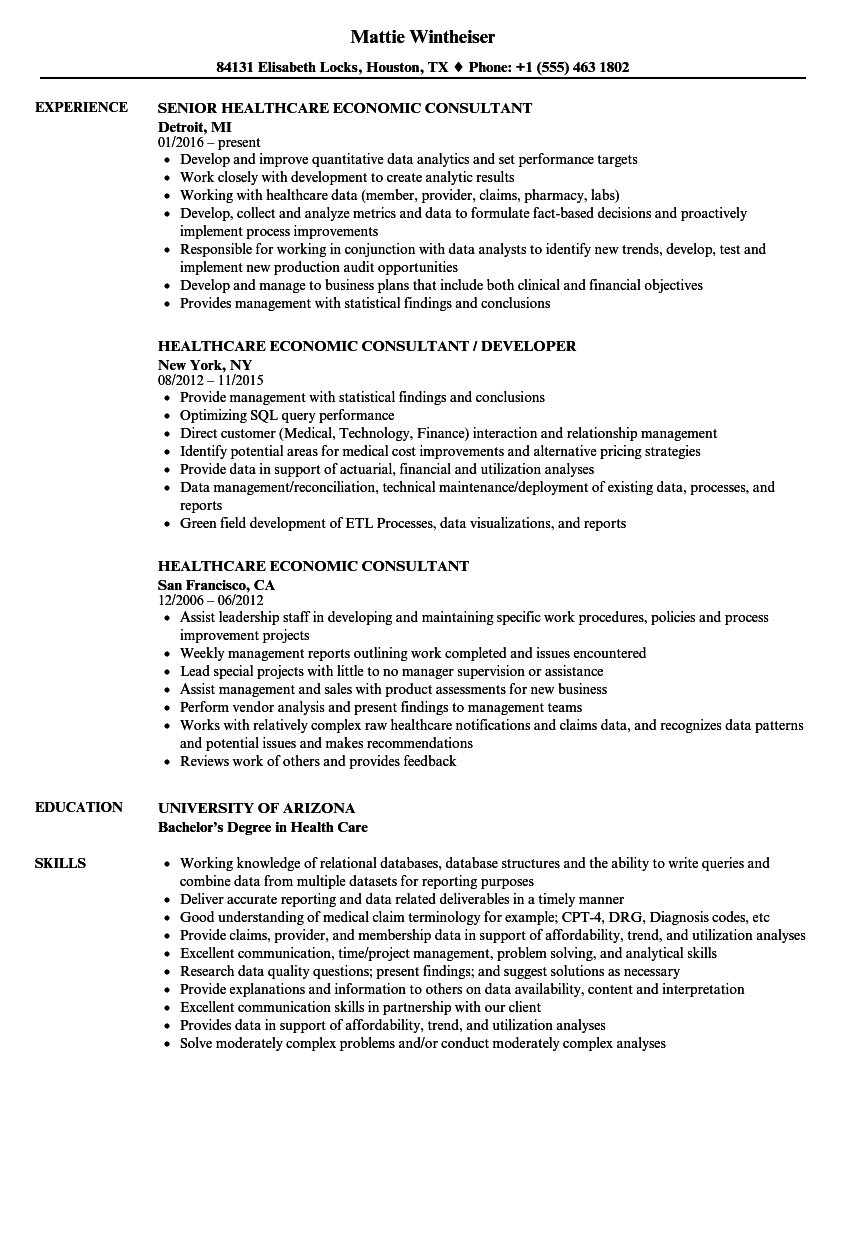 Healthcare Economic Consultant Resume Samples | Velvet Jobs