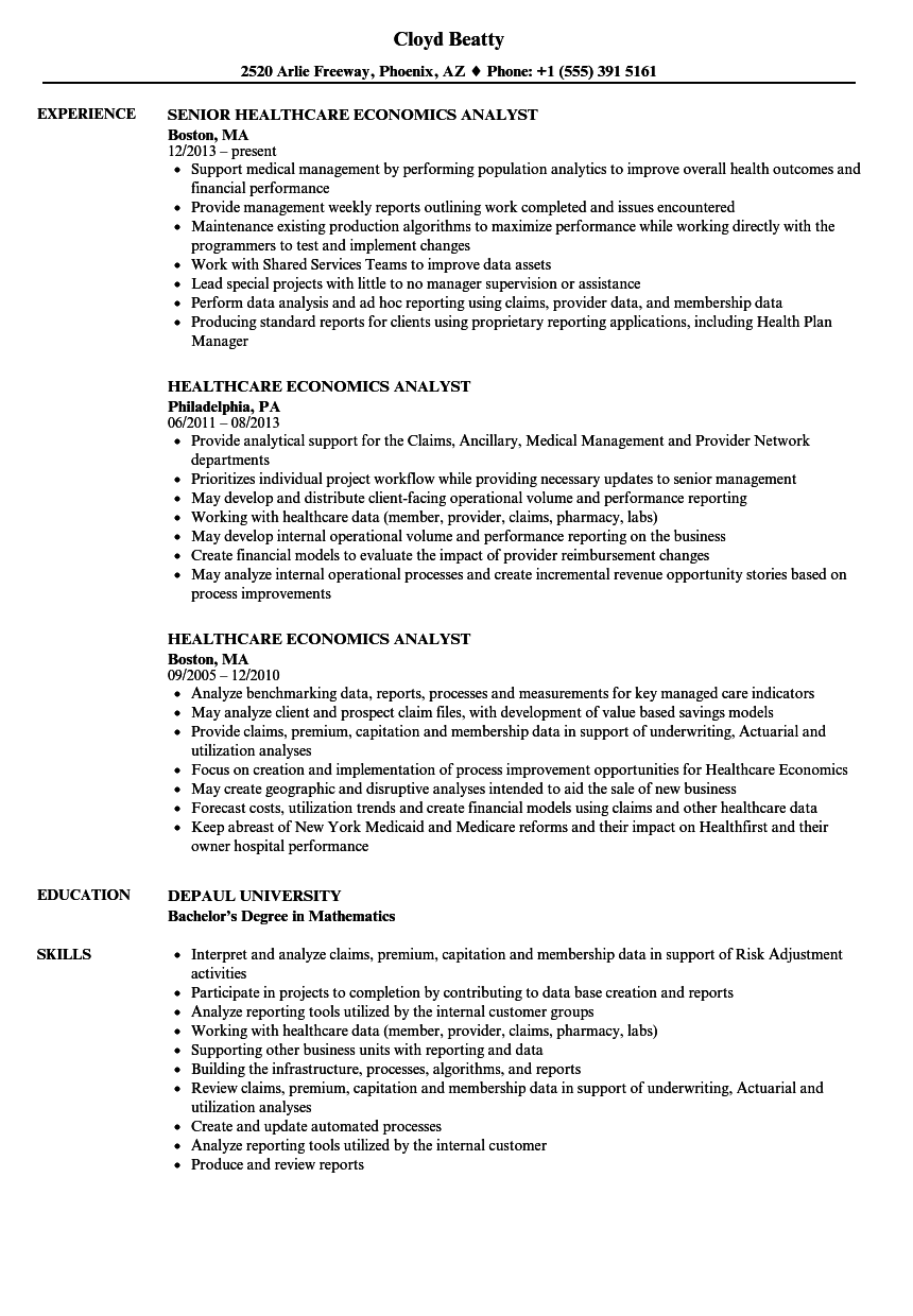 healthcare economics analyst resume samples