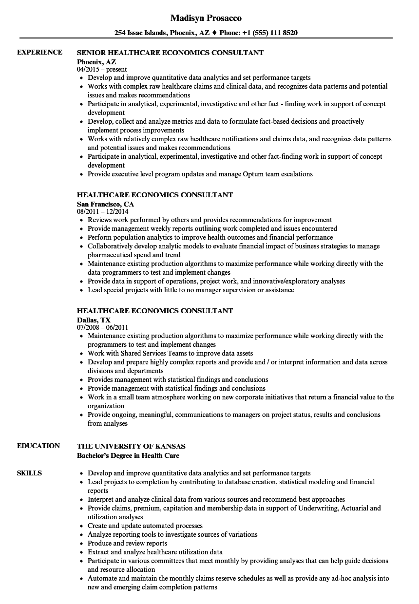 Healthcare Economics Consultant Resume Samples | Velvet Jobs