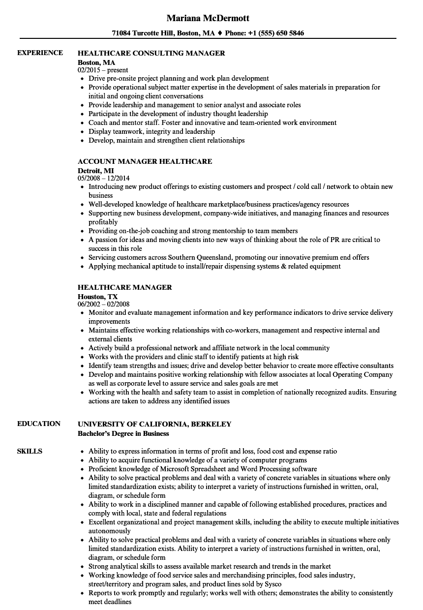 healthcare manager resume samples