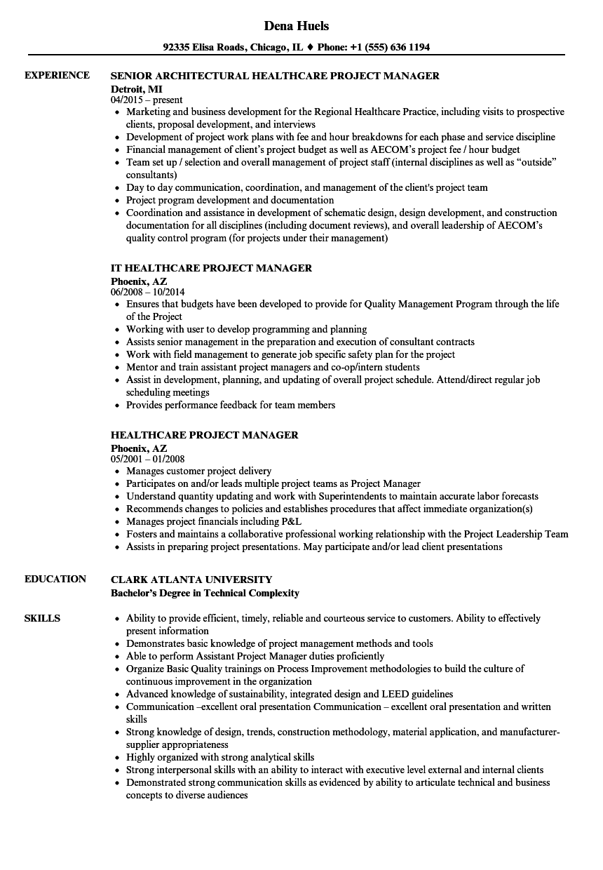healthcare project manager resume samples velvet jobs