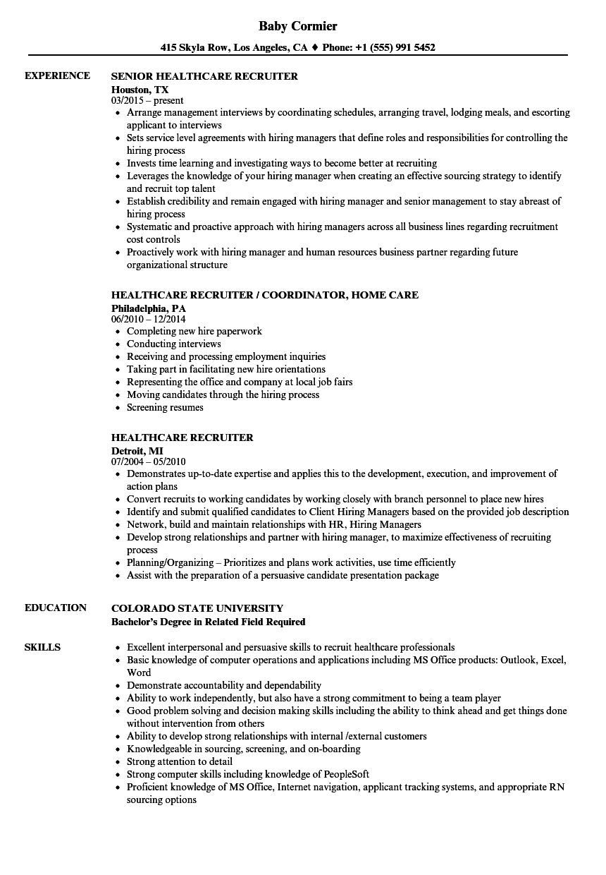 healthcare recruiter resume samples