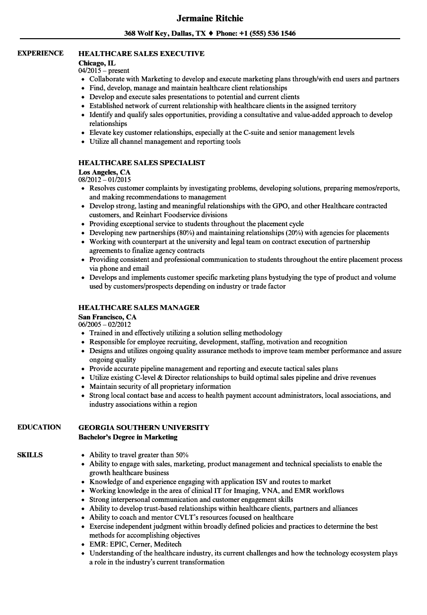 Download Healthcare Sales Resume Sample As Image File