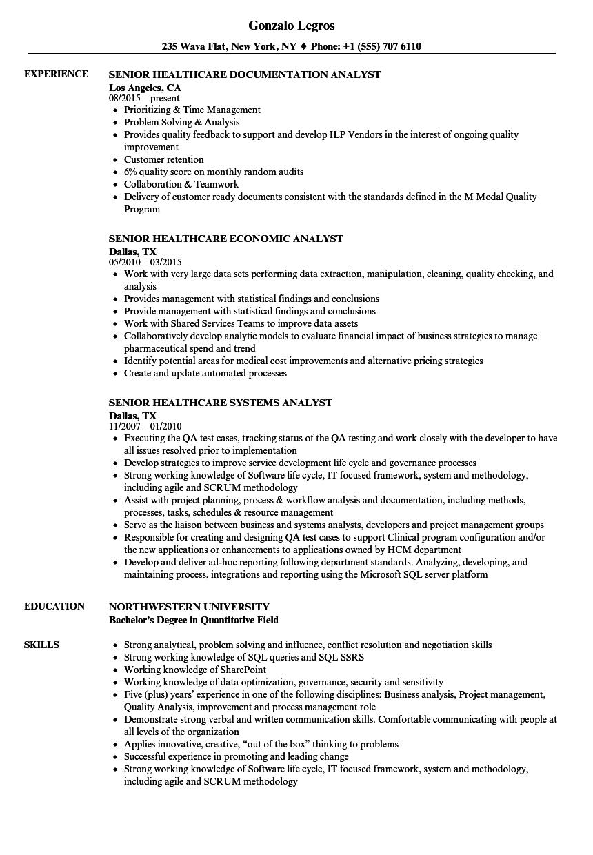 Healthcare Senior Analyst Resume Samples | Velvet Jobs