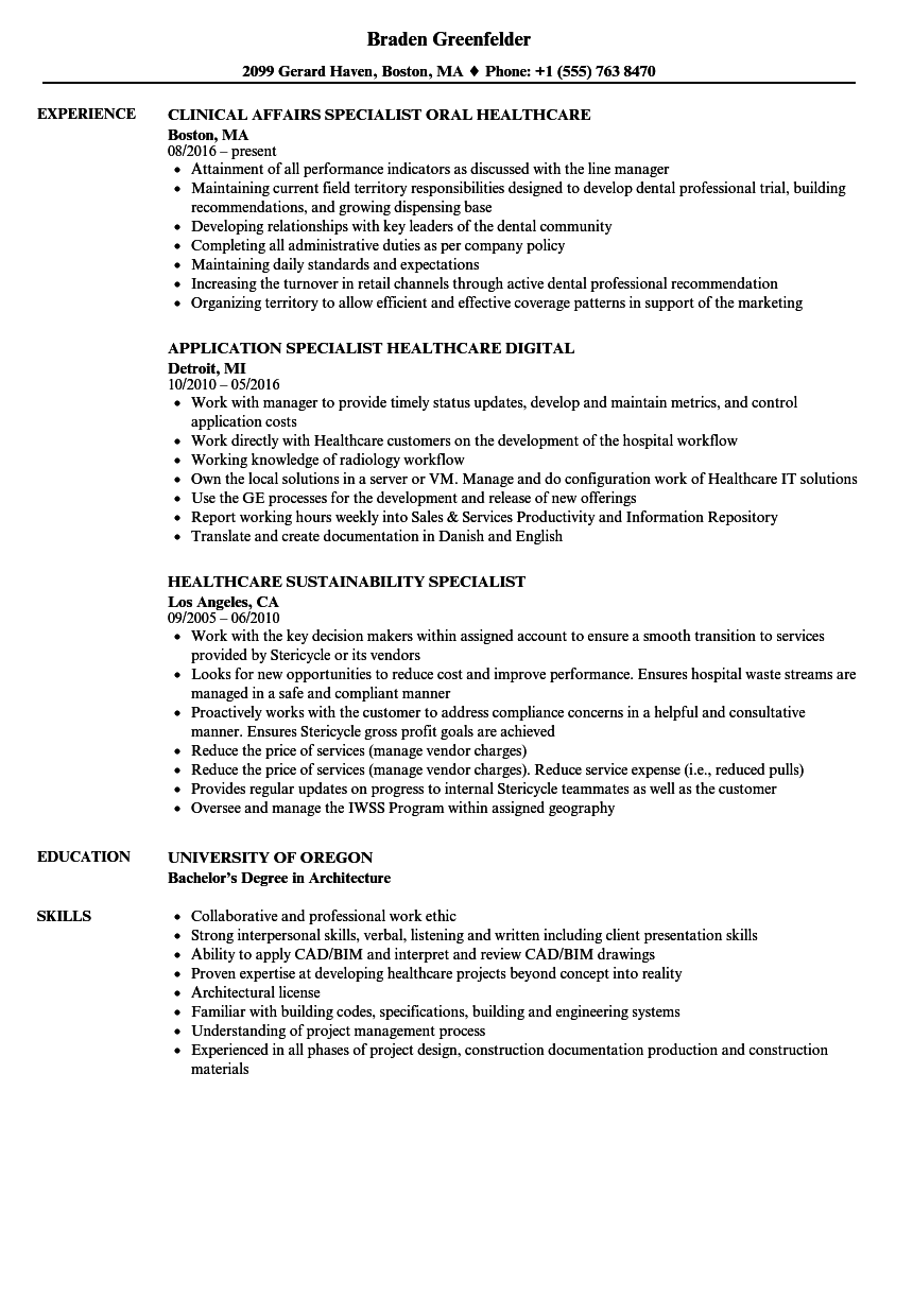 Download Healthcare Specialist Resume Sample As Image File