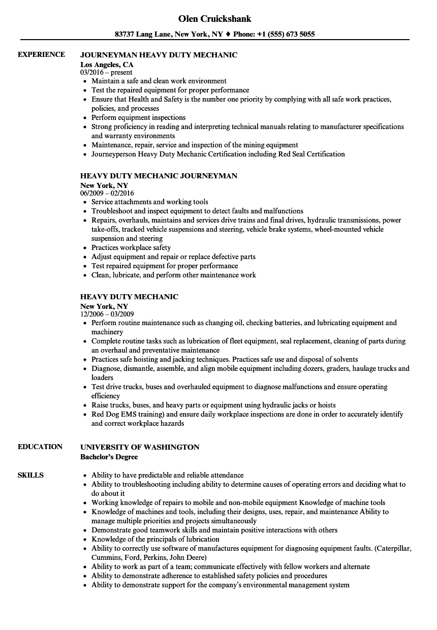 Heavy Duty Mechanic Resume Samples | Velvet Jobs