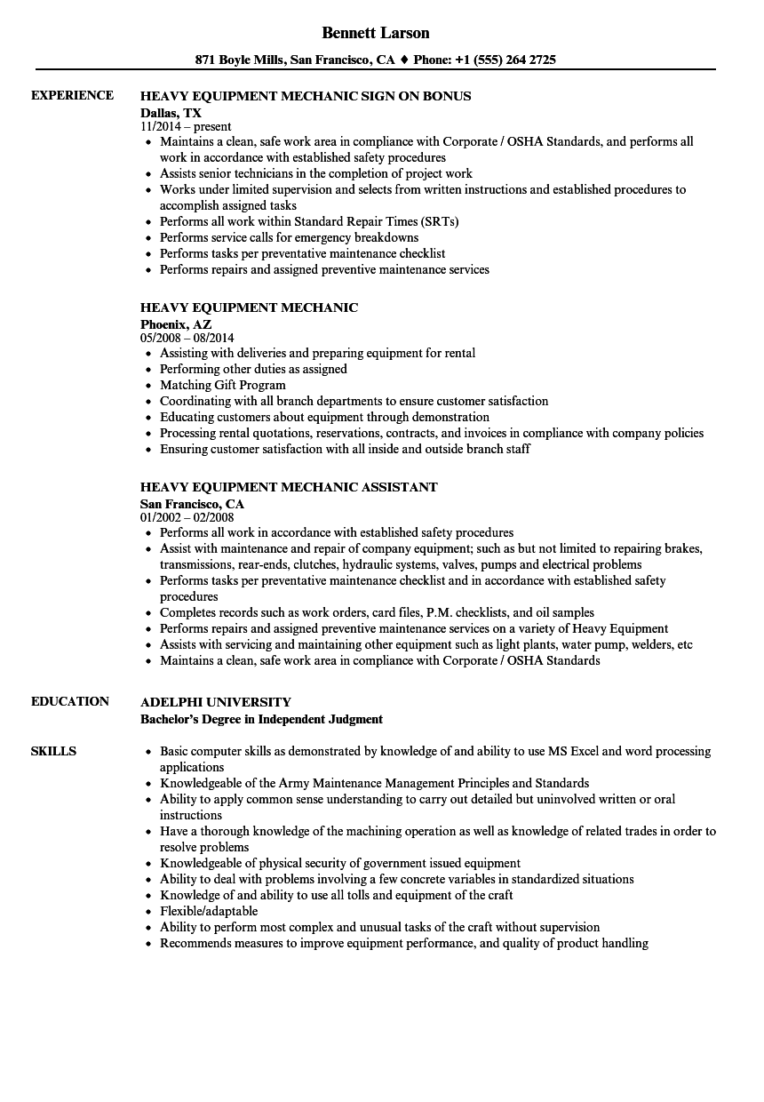 Heavy Equipment Mechanic Resume Samples | Velvet Jobs
