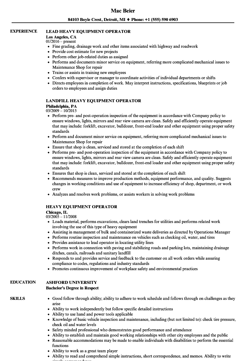 heavy equipment operator resume samples velvet jobs