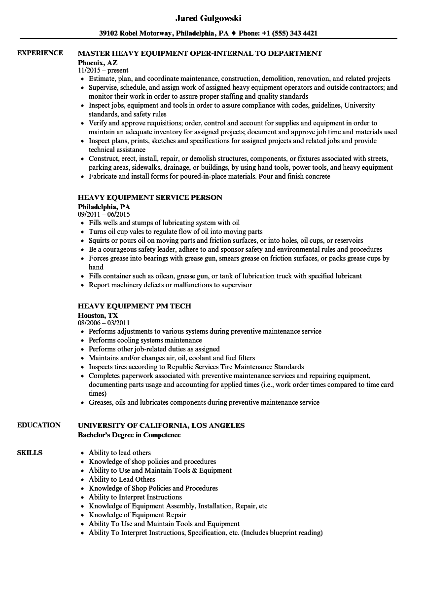 heavy equipment resume samples