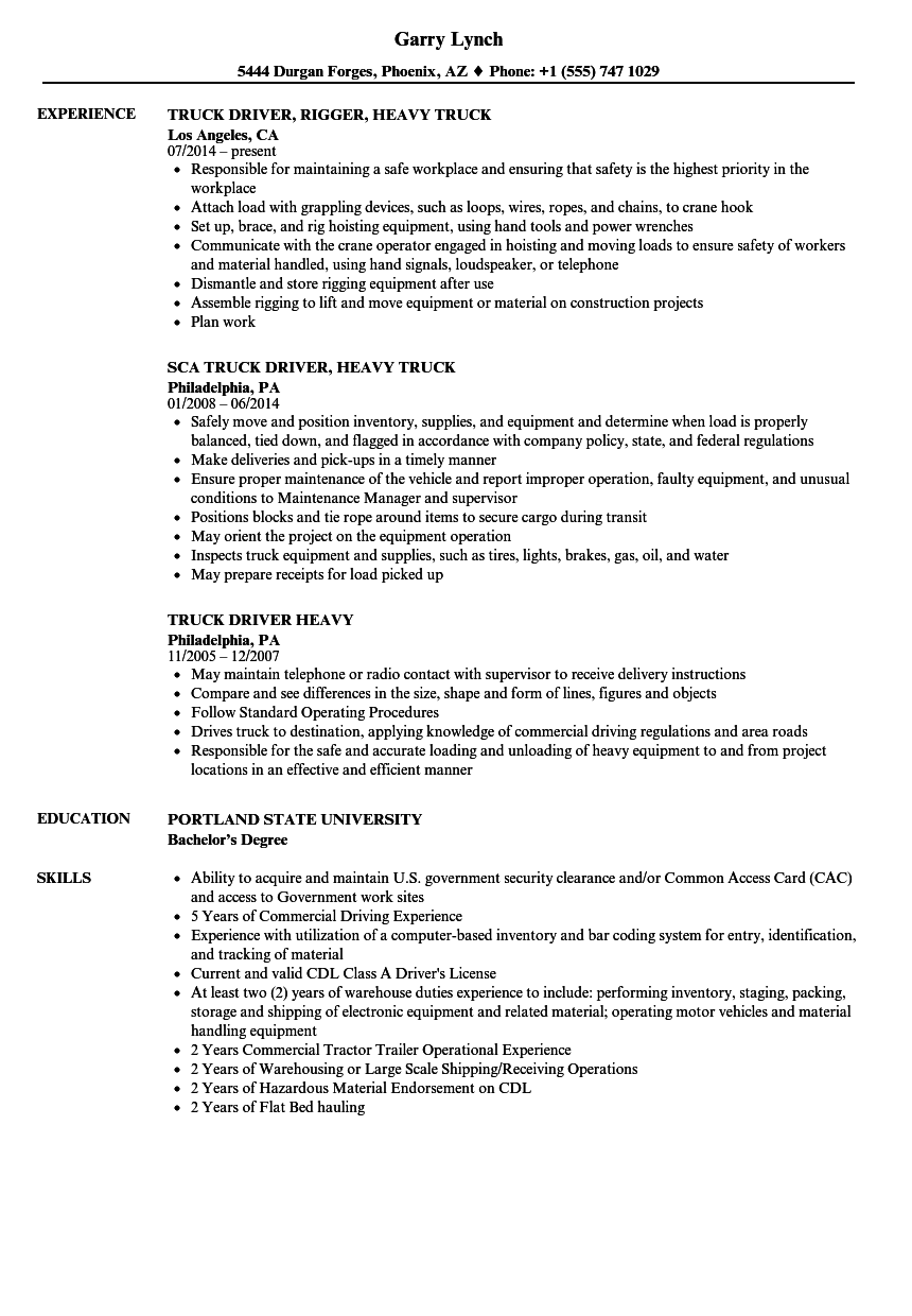 download heavy truck driver resume sample as image file