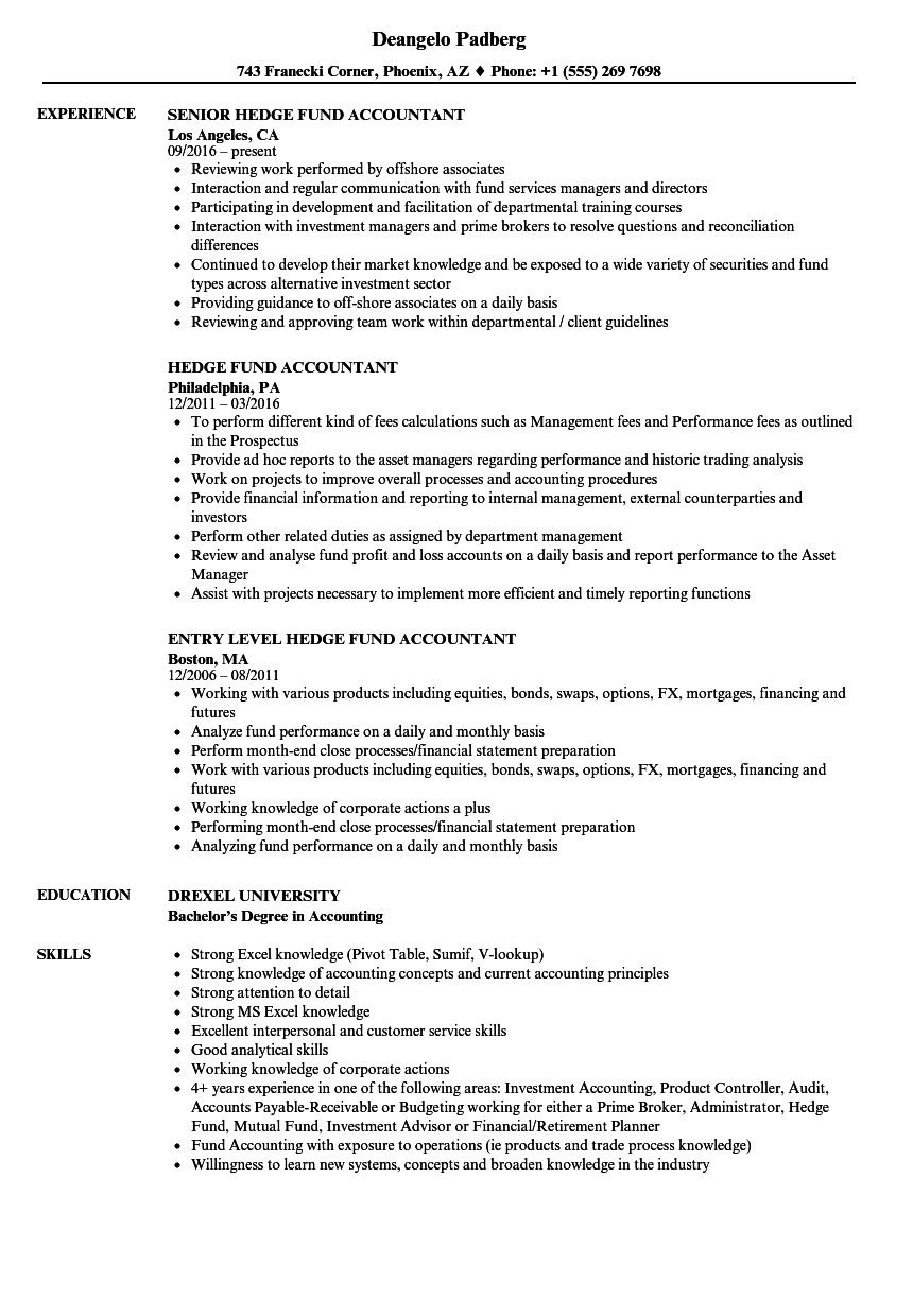Download Hedge Fund Accountant Resume Sample As Image File