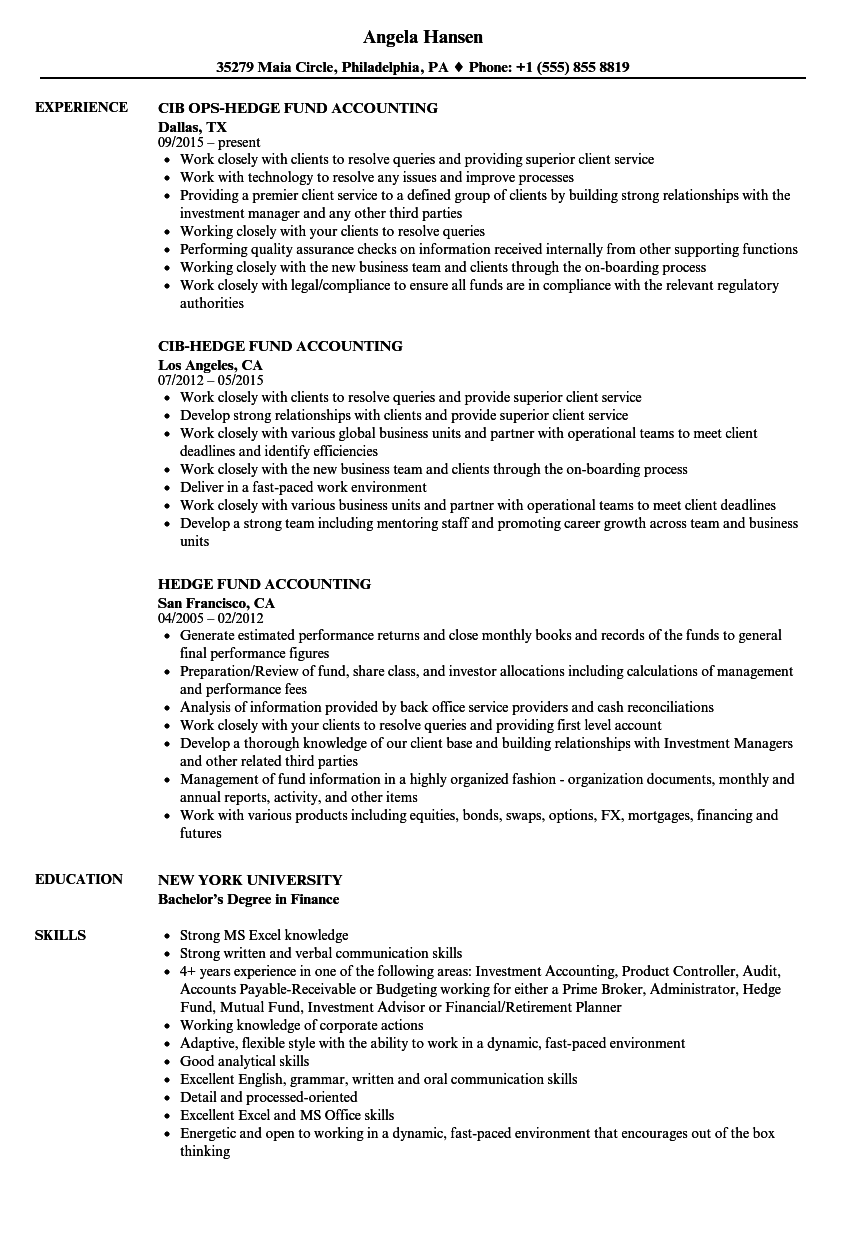 Hedge Fund Accounting Resume Samples | Velvet Jobs
