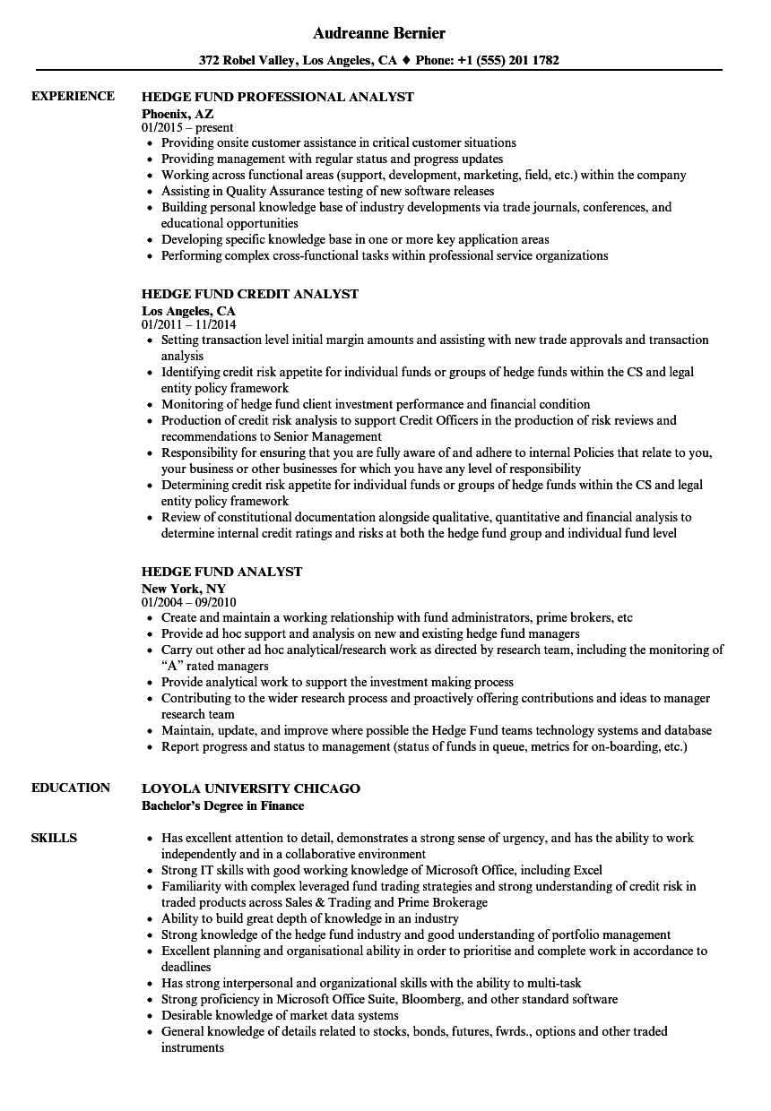 hedge fund analyst resume samples