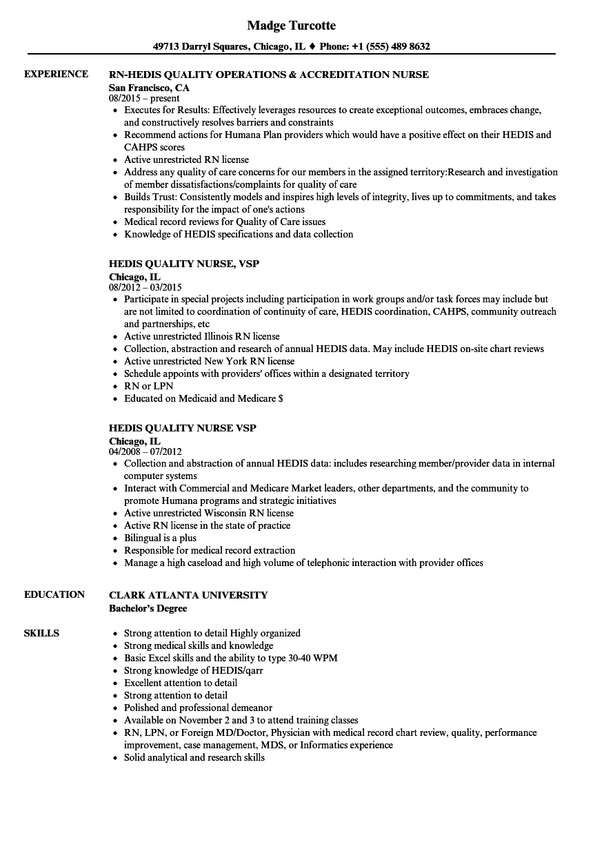 hedis nurse resume samples