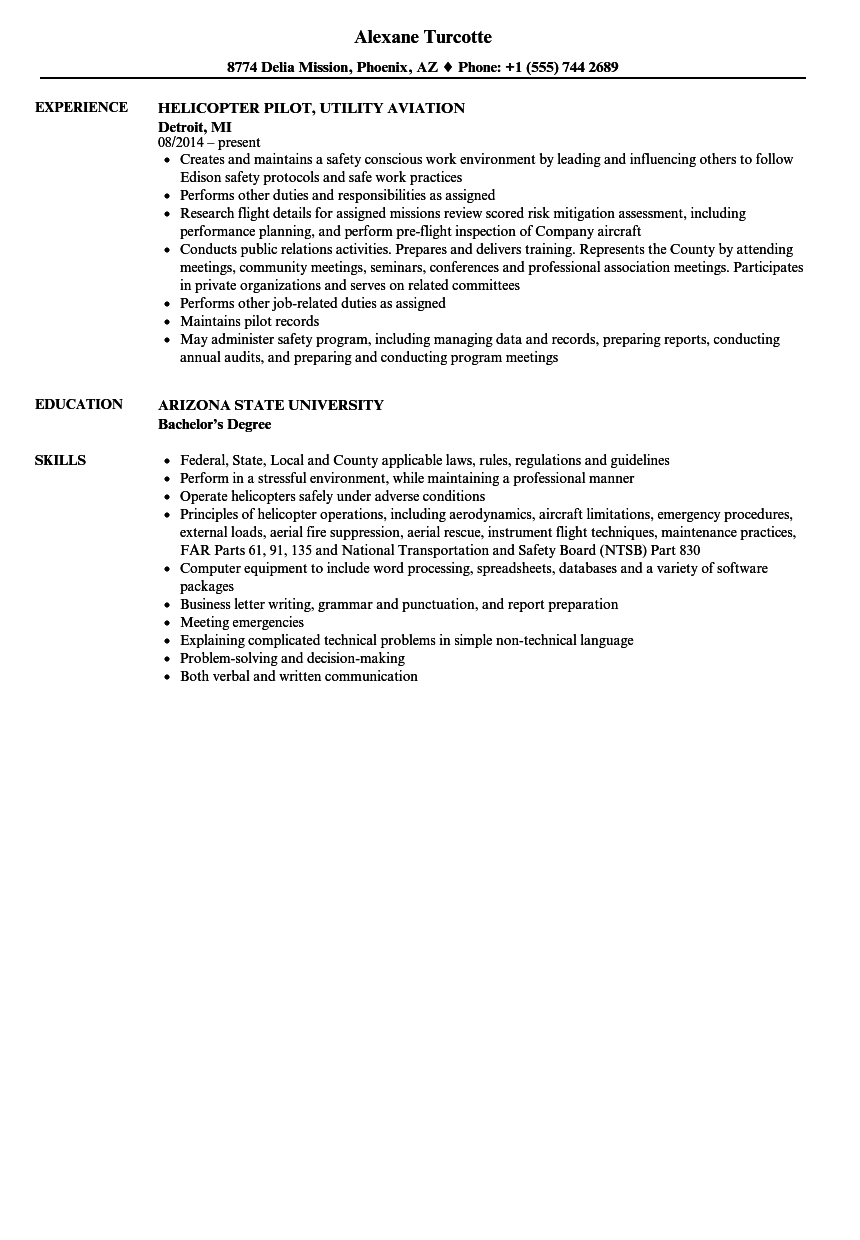 Helicopter Pilot Resume Samples | Velvet Jobs
