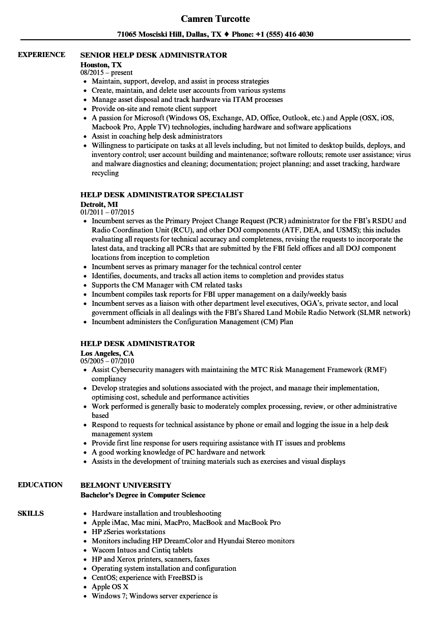 help desk administrator resume samples