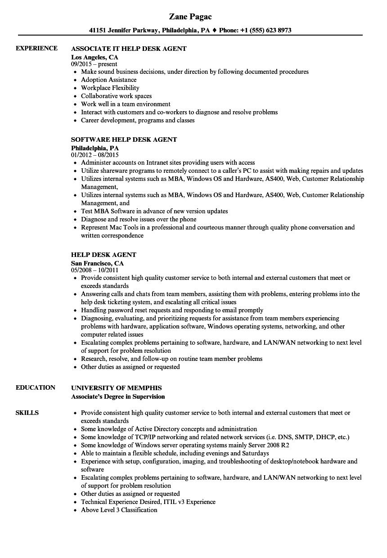 Help Desk Agent Resume Samples | Velvet Jobs
