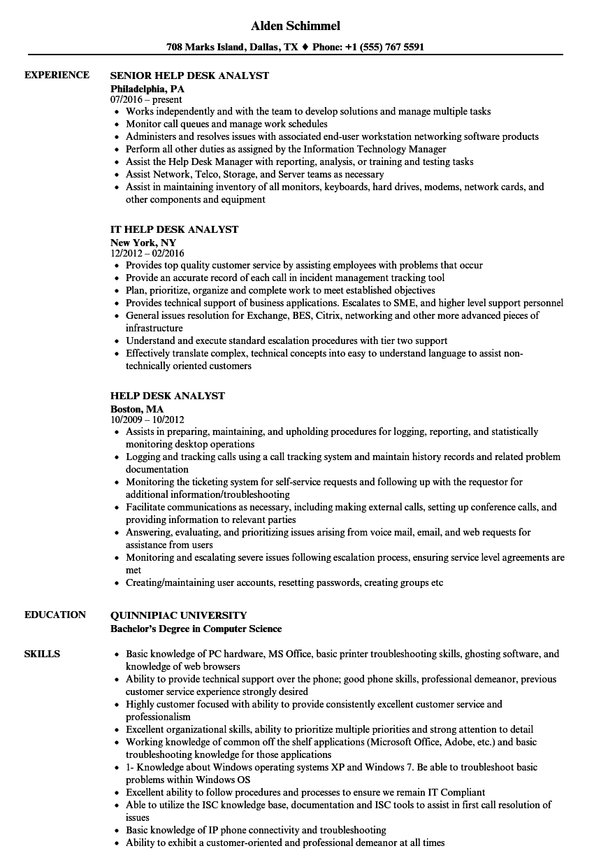 sample resume of help desk analyst