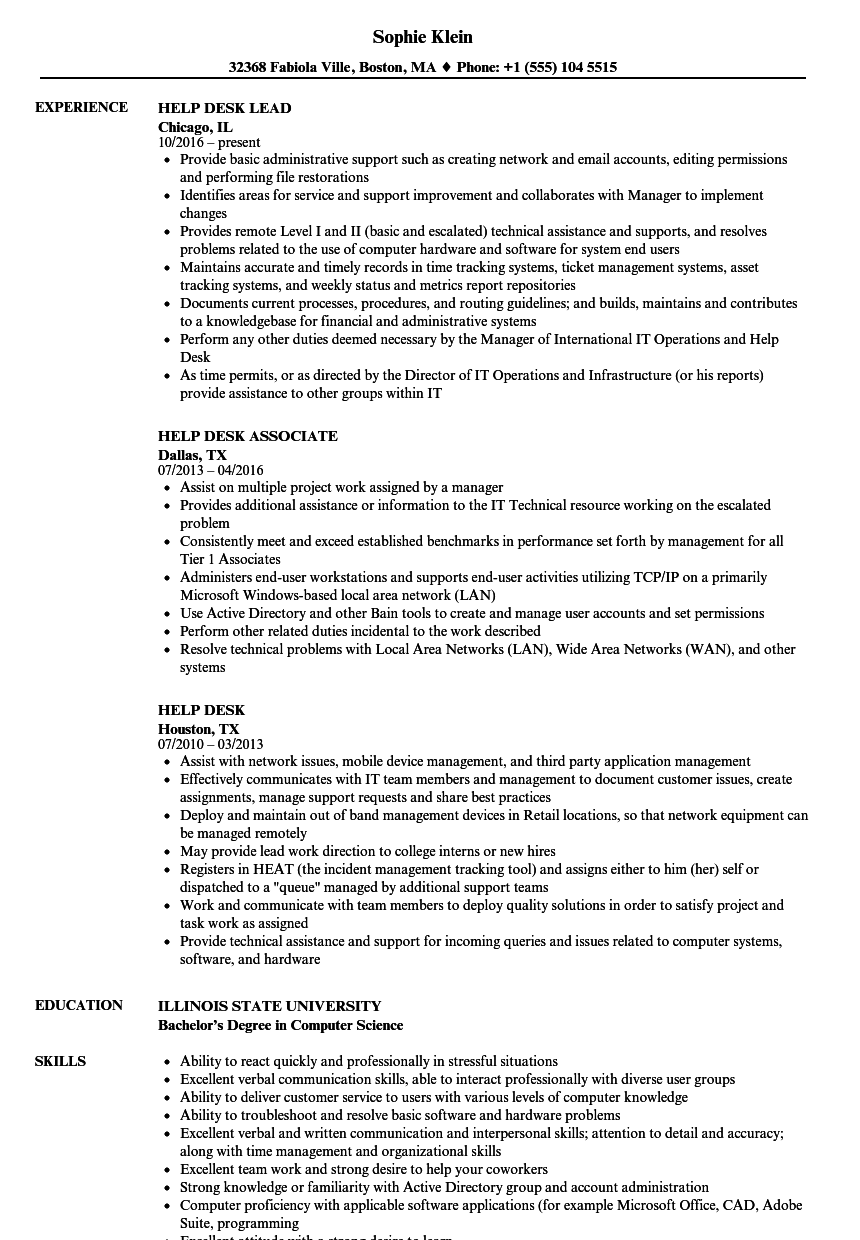 help desk resume samples