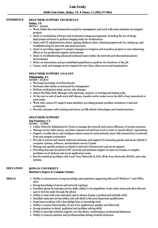 help desk support resume samples