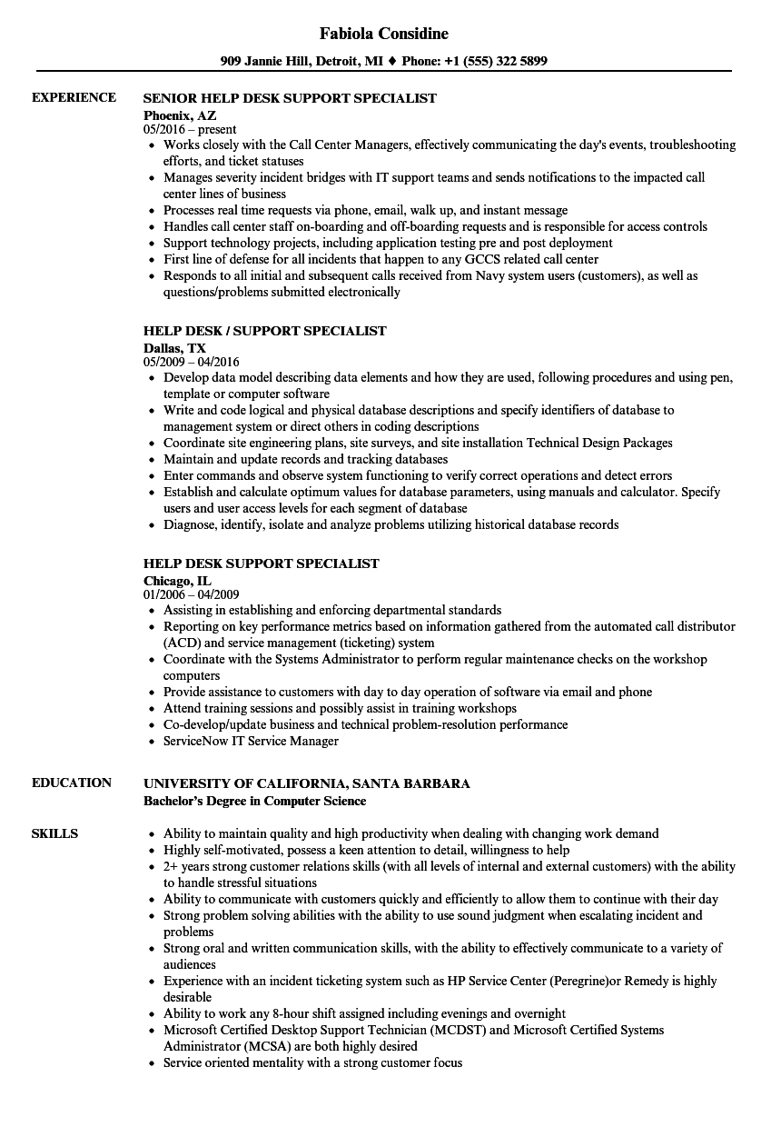 Help Desk Support Specialist Resume Samples | Velvet Jobs