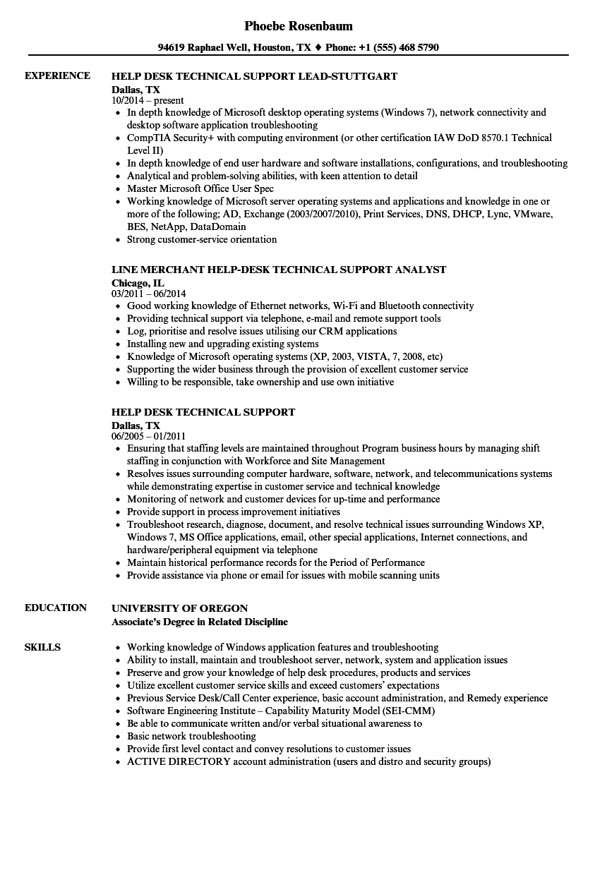 Help Desk Technical Support Resume Samples Velvet Jobs