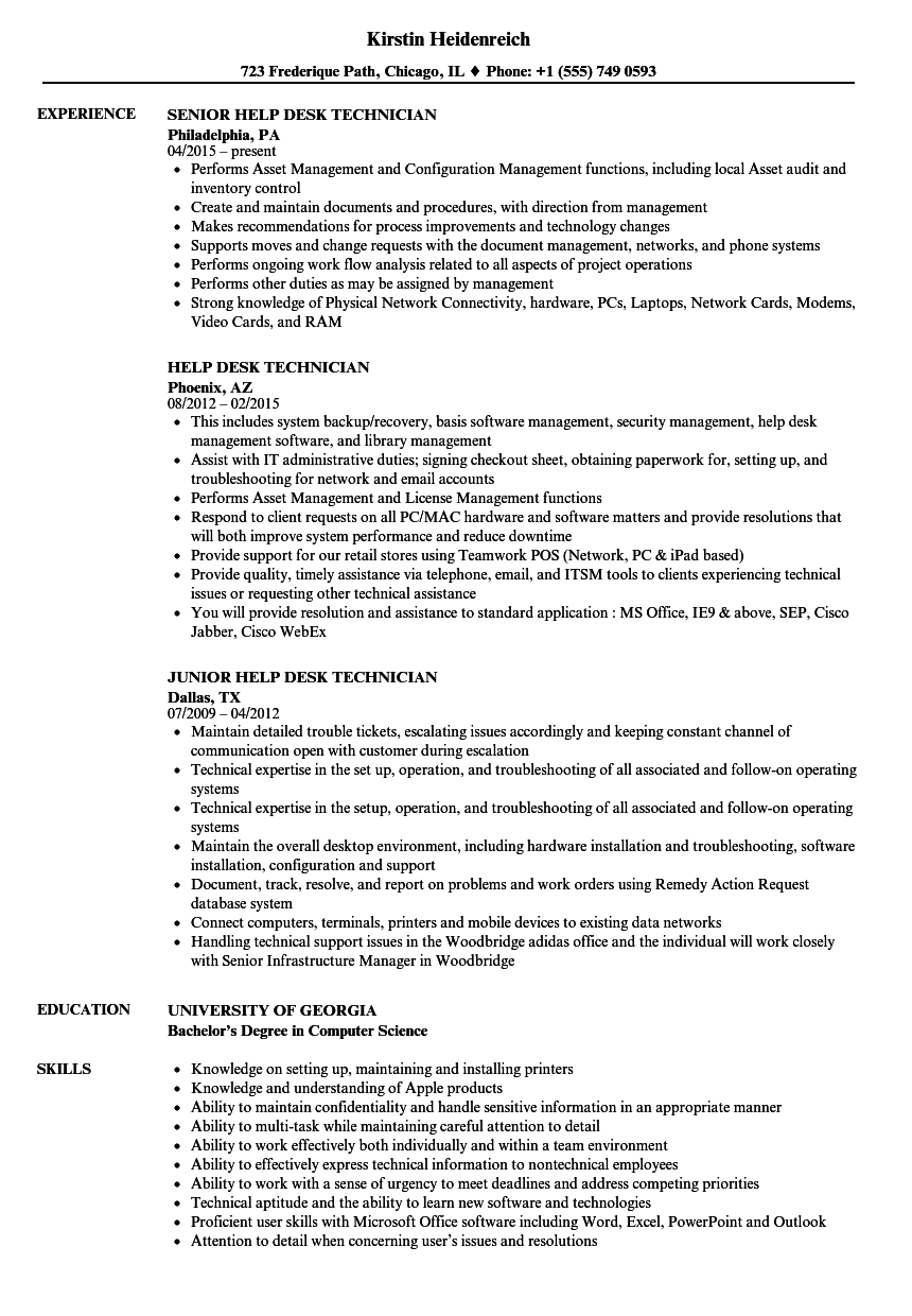 help desk technician resume samples