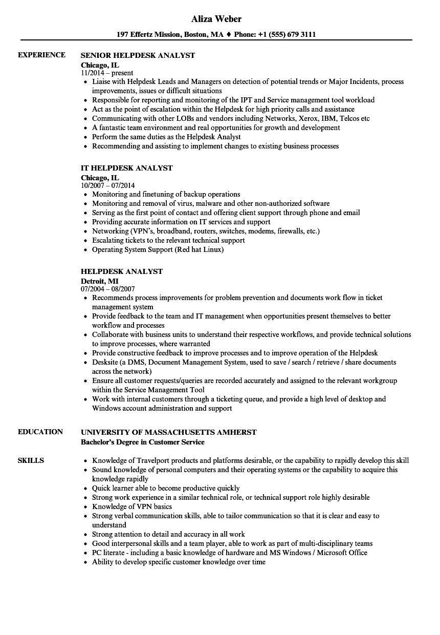 helpdesk analyst resume samples