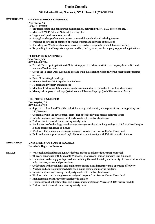 helpdesk engineer resume samples