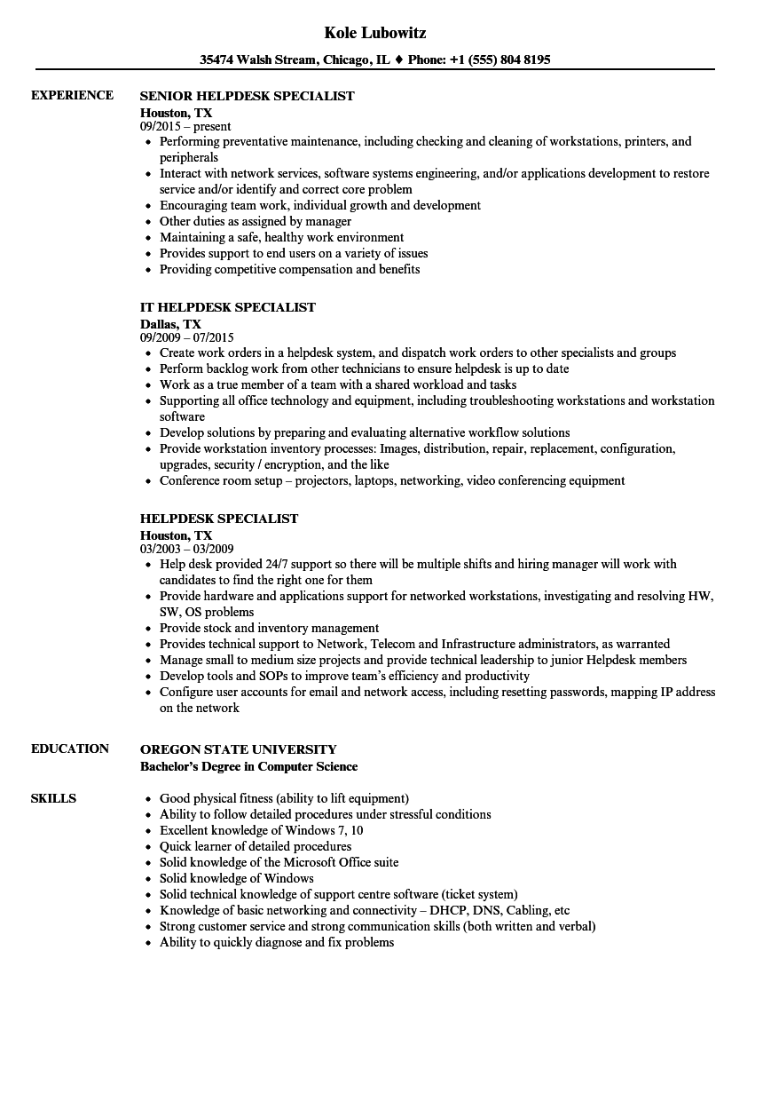 Helpdesk Specialist Resume Samples Velvet Jobs