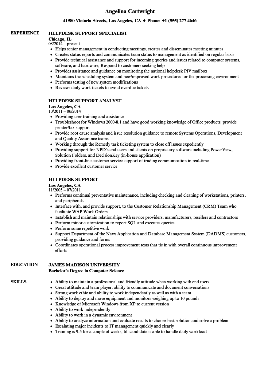 Download Helpdesk Support Resume Sample As Image File