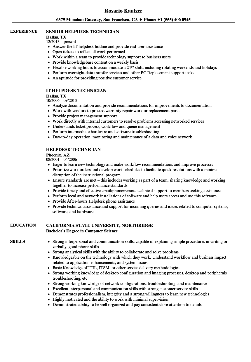 Helpdesk Technician Resume Samples Velvet Jobs