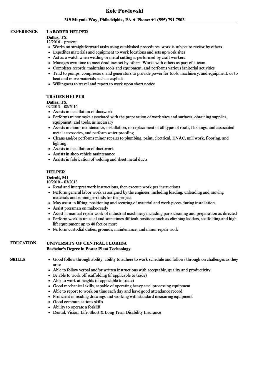 helper resume samples