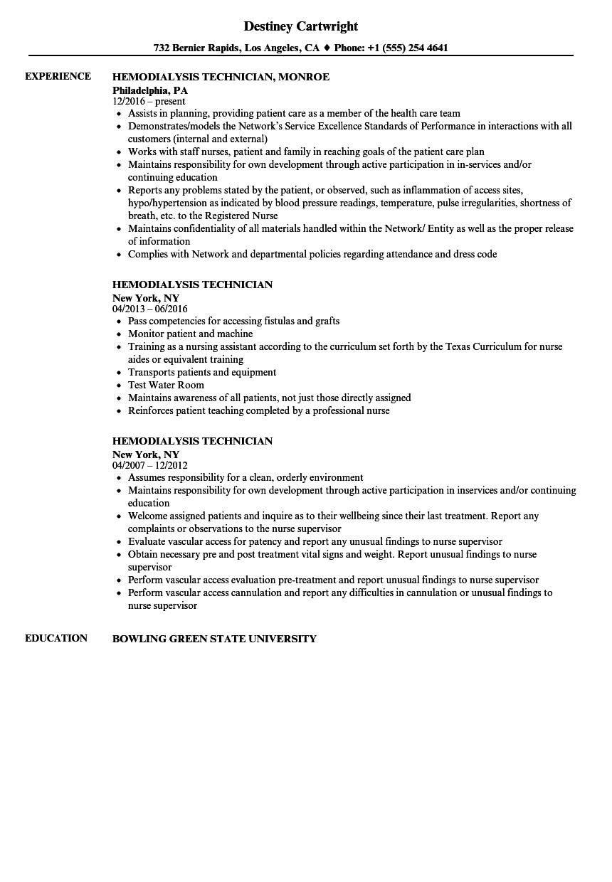 hemodialysis technician resume samples velvet jobs