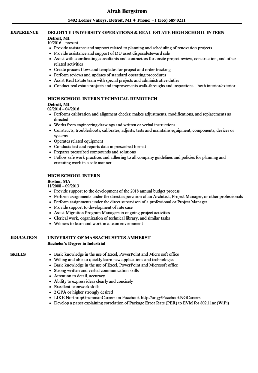 High School Intern Resume Samples Velvet Jobs