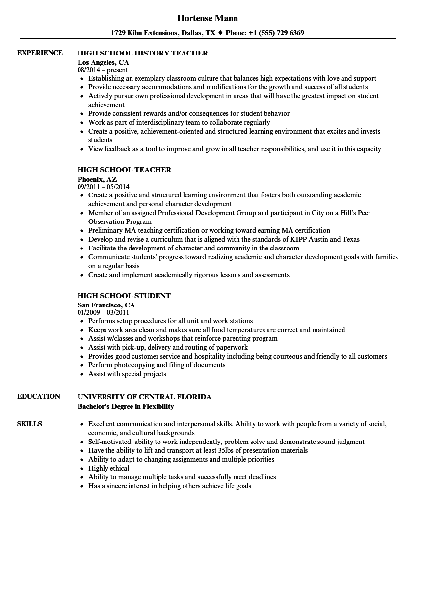 High School Resume Samples Velvet Jobs