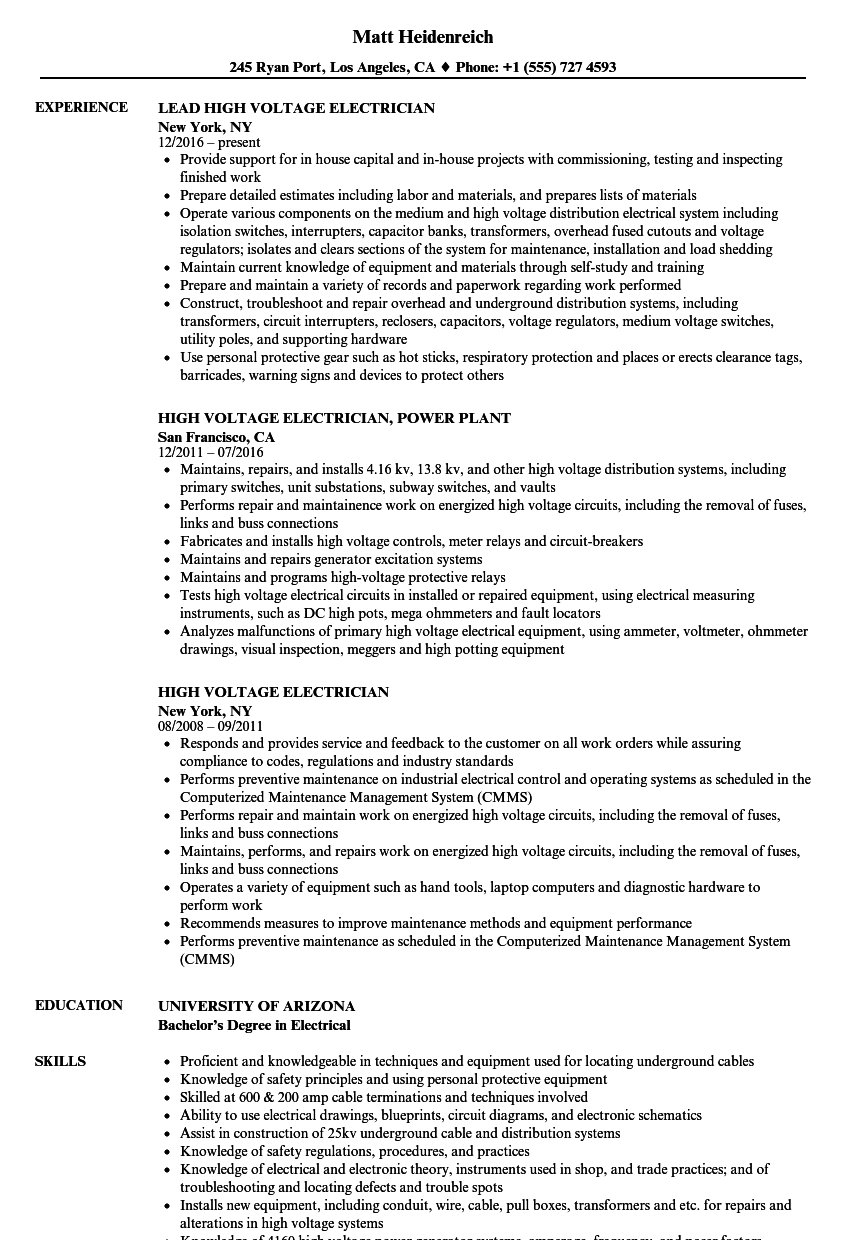 High Voltage Electrician Resume Samples | Velvet Jobs