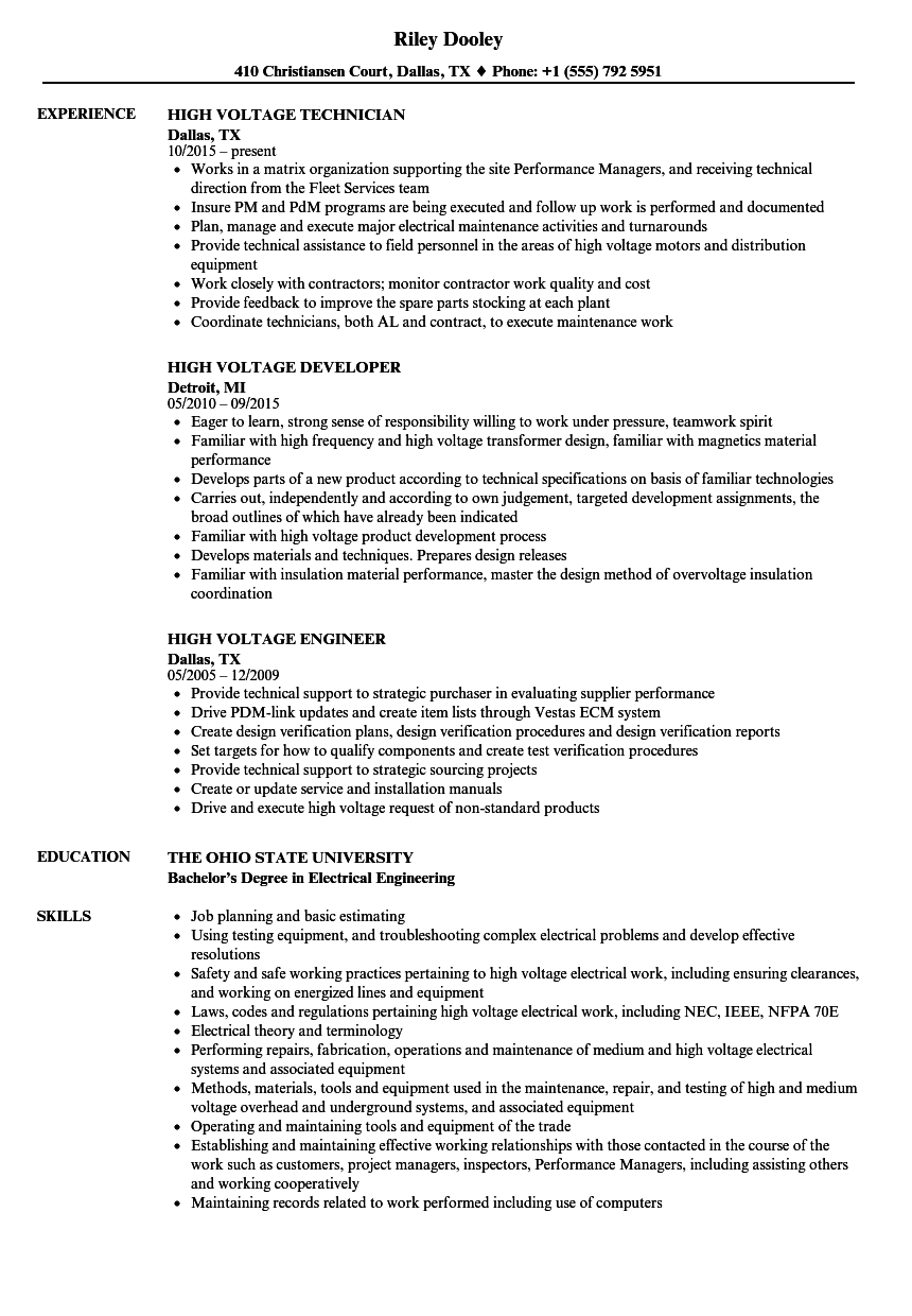 High Voltage Resume Samples | Velvet Jobs