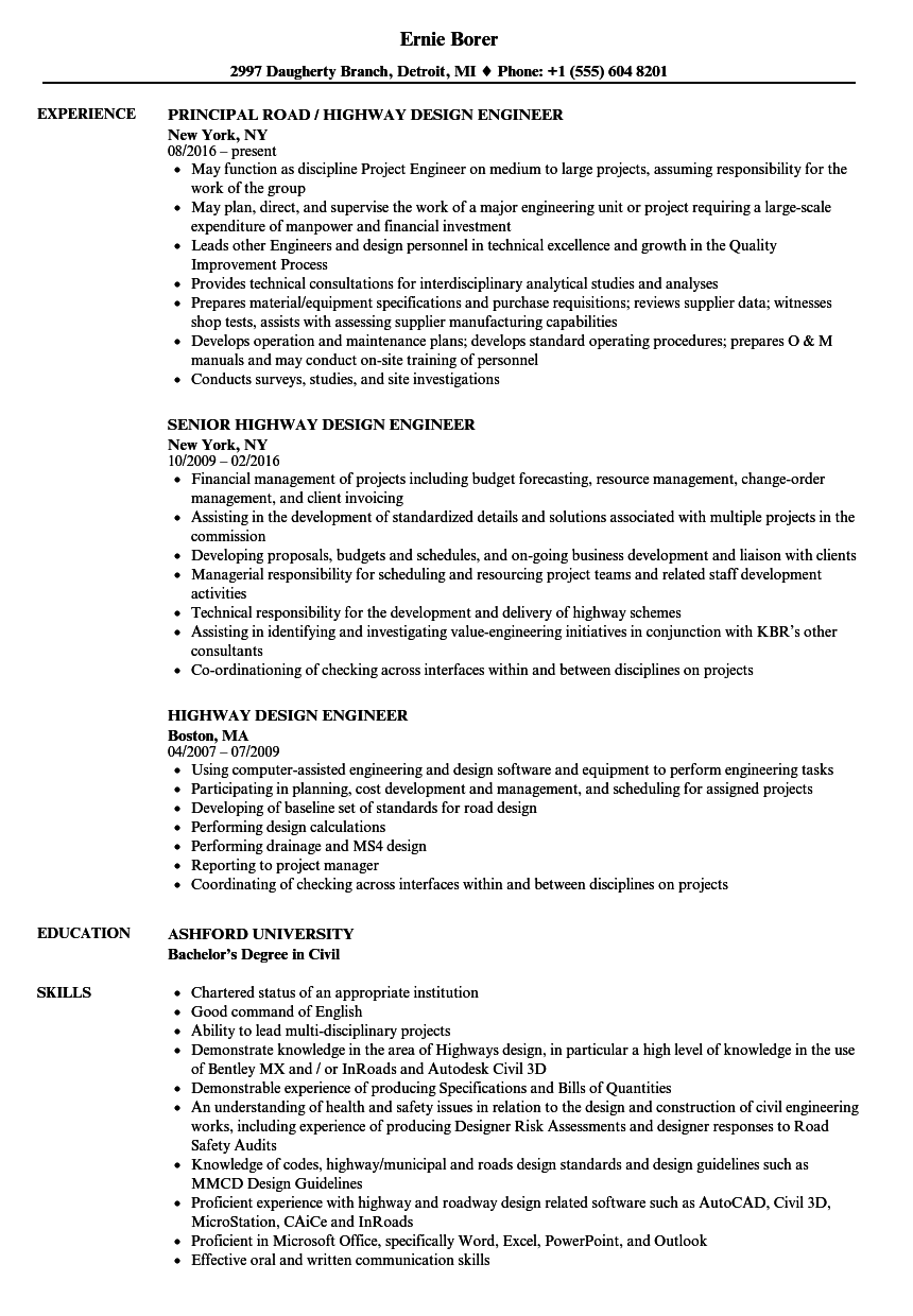 highway design engineer resume samples