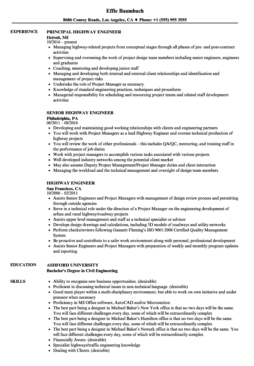 Download Highway Engineer Resume Sample As Image File  Eit On Resume