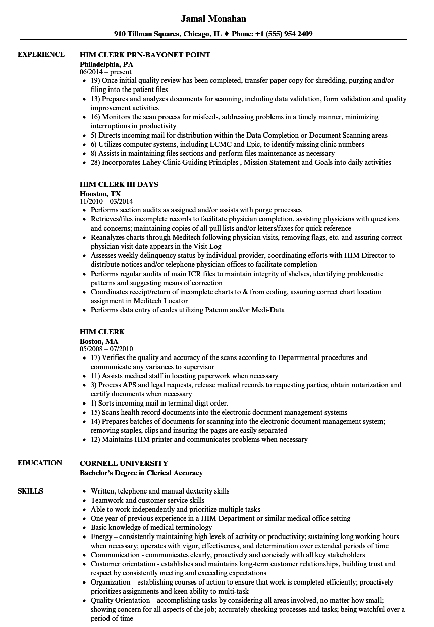 Him Clerk Resume Samples | Velvet Jobs
