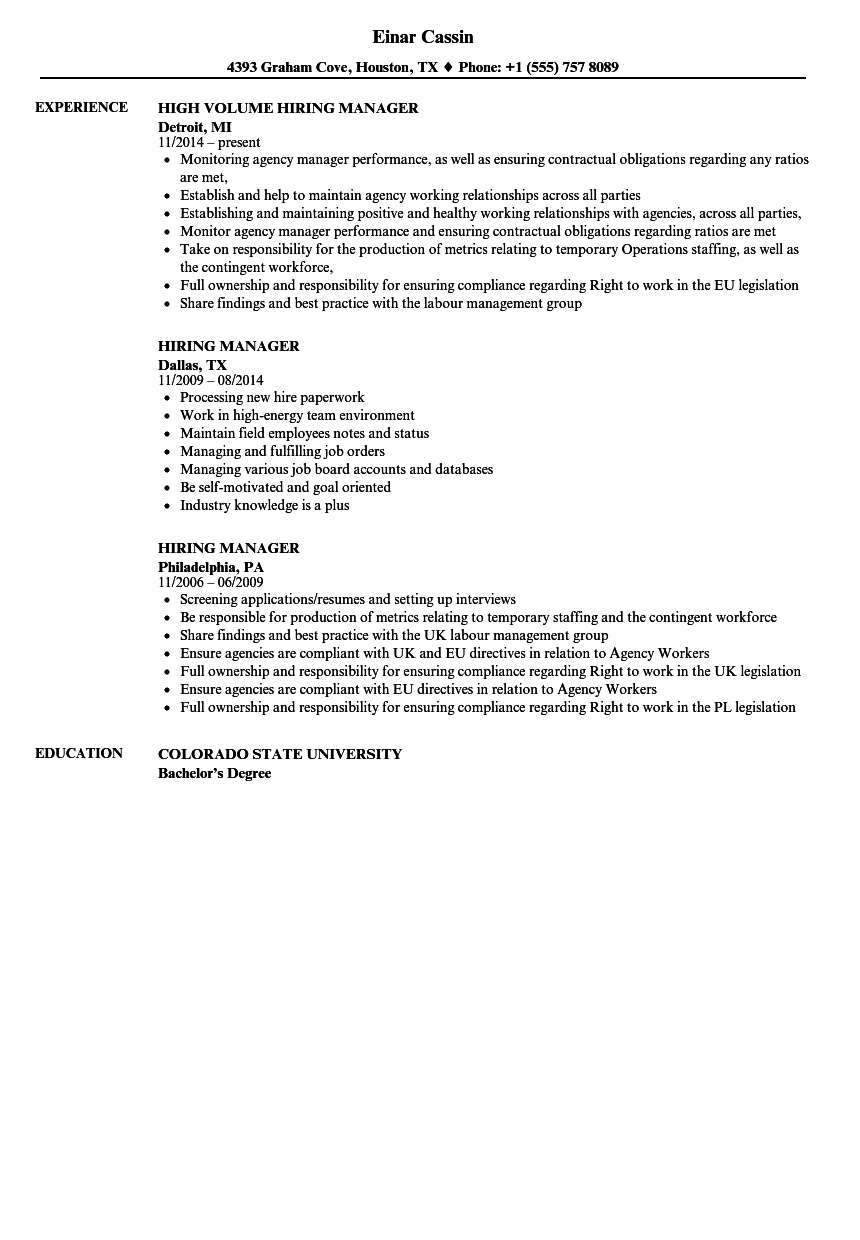 Hiring Manager Resume Samples Velvet Jobs