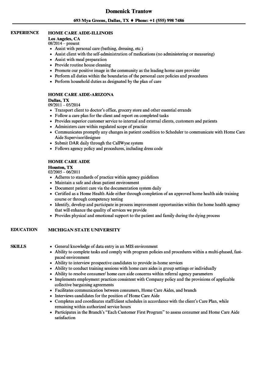 Download Home Care Aide Resume Sample As Image File