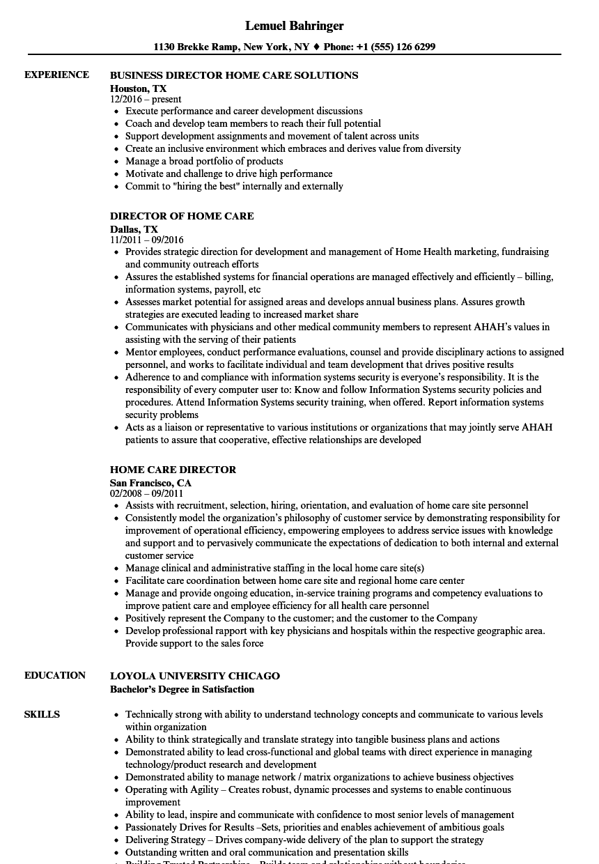 home care director resume samples velvet jobs