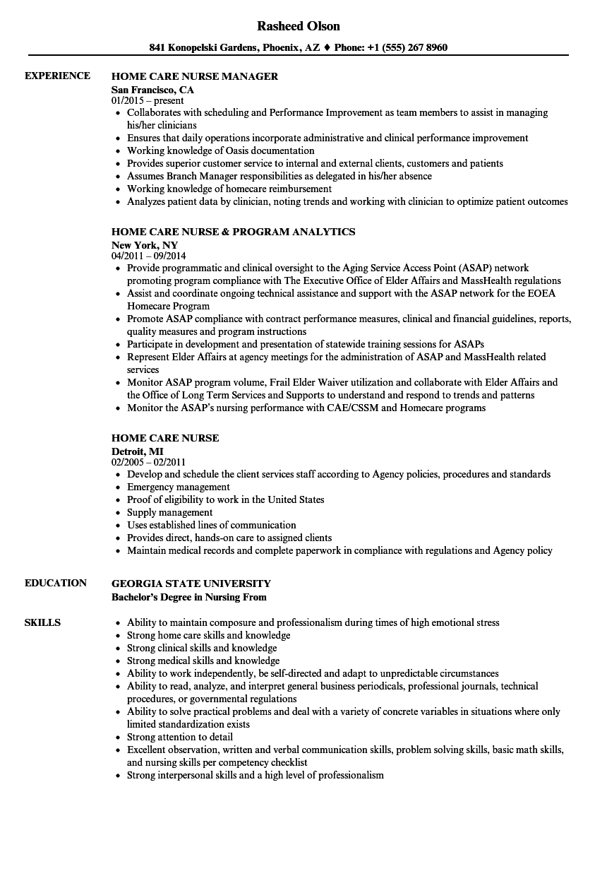 Home Care Nurse Resume Samples | Velvet Jobs