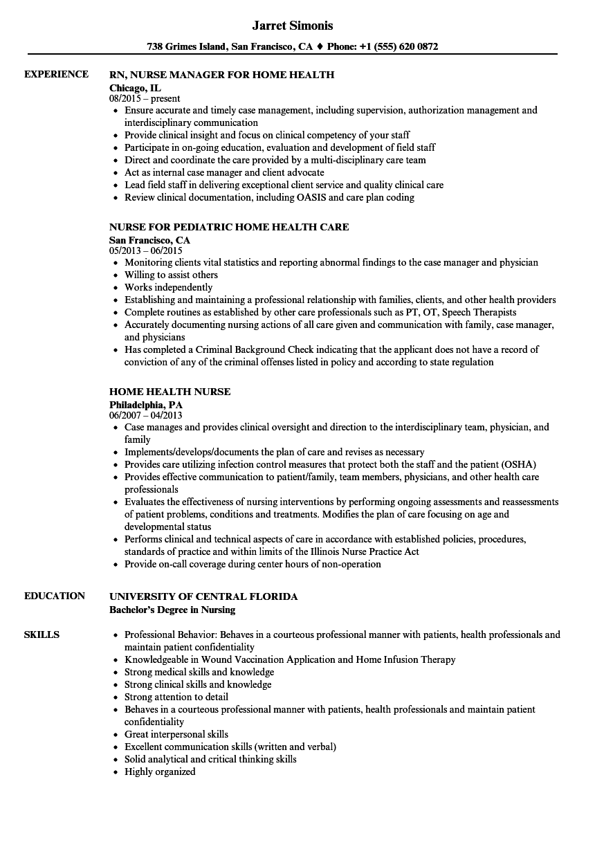 Download Home Health Nurse Resume Sample As Image File