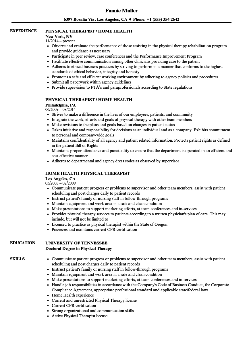 home health physical therapist resume samples